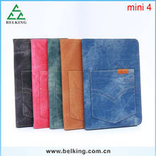For iPad Mini Cowboy Leather Case With Card Slot Stand Holder Leather Case For iPad