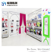 Customzied Cartoon Fashion Kids Clothes Shop Decoration MDF Clothes Display Stand and Rack