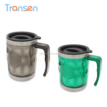 2017 hot products Double Wall Insulated Vacuum Coffee Cup Warmer Car 450ml stainless steel car cup with handle