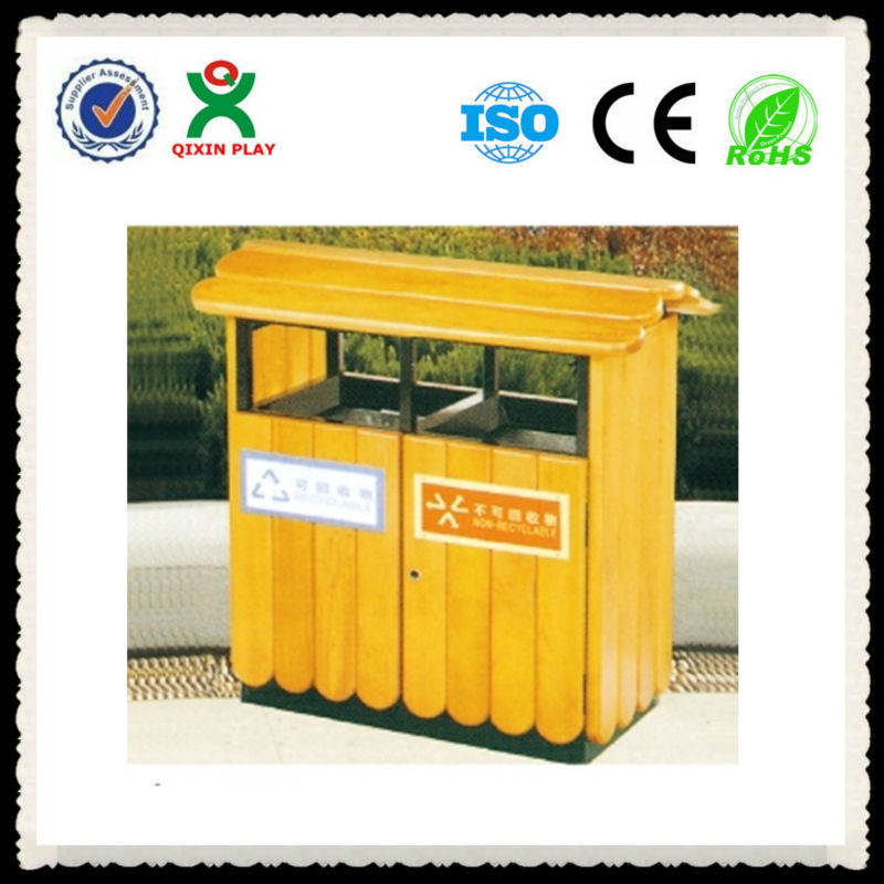High quality cheap outdoor playground wooden recycle bin garden park rubbish bin public waste bin QX-149J