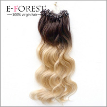 fashionable two color ombre #27 T #613 brazilian ombre micro loop ring 20inch hair extension