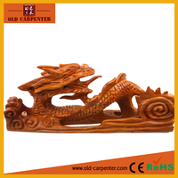 Lying dragon fortune ornaments home decoration wood carving