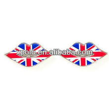 cute lip and Union Jack girl stud earrings
