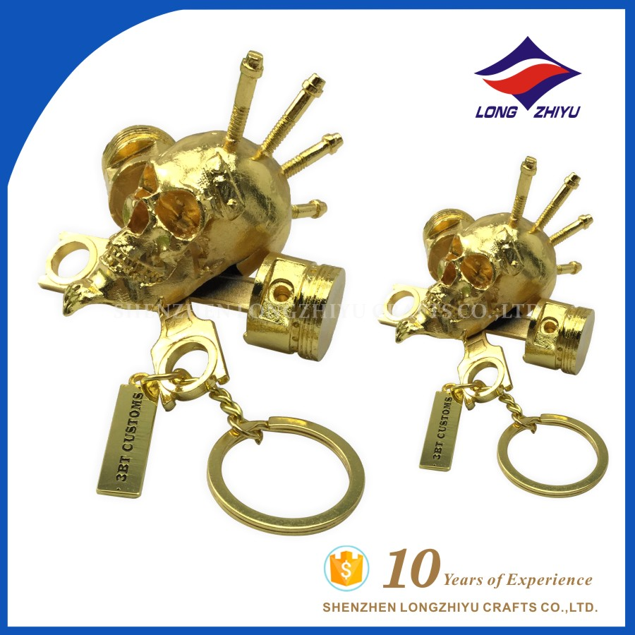 2016 3D skull shape zinc alloy keychain key ring with gold plating