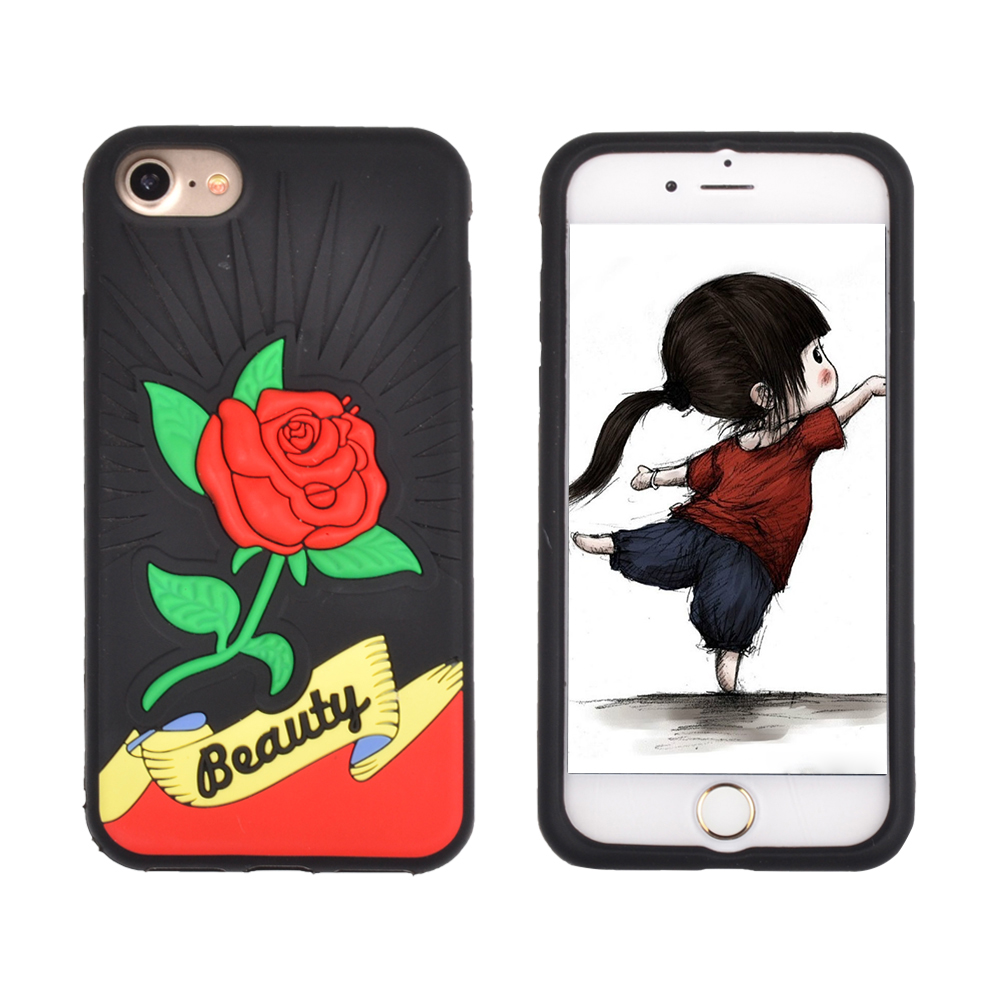 Soft Flexible Soft Tpu Rubber Silicone High Impact Protective Drop Protection Rose Flower Cell Phone Case Cover For Iphone 6 7