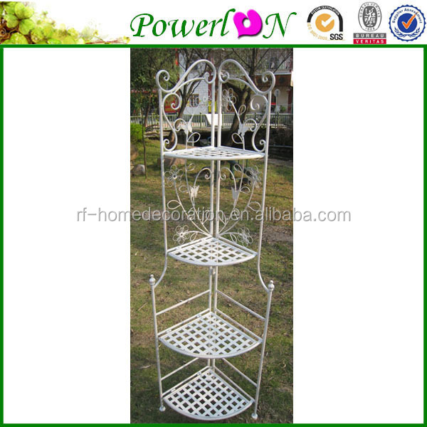 Classical Antique Commercal Wrought Iron 4 Tier Corner Shelf