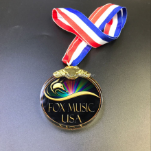Wholesale sports theme hanging circle crystal glass medallion award medals