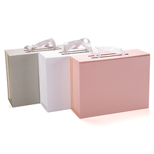 New premium foldable cardboard gift box with rope handle