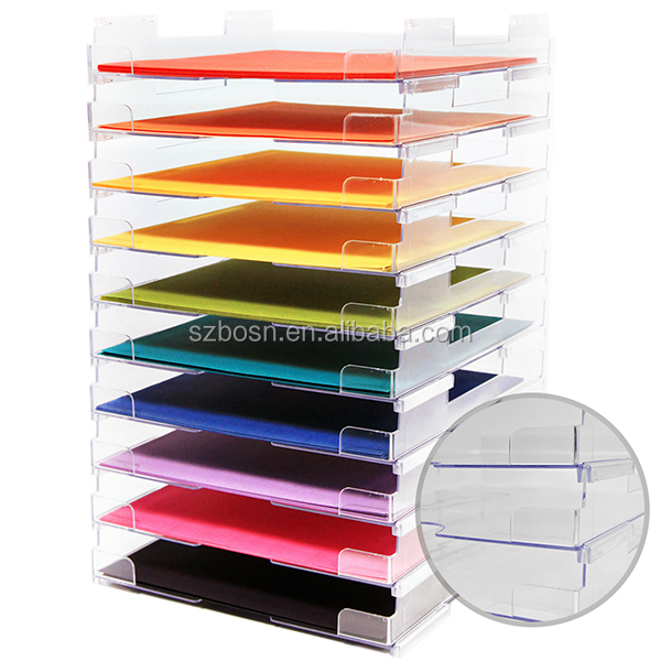 New Design Stackable Acrylic Paper Tray For Sale