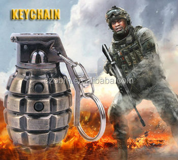3 in1 Laser And LED Hand Grenade Shaped Keychain New Product 2014 Promotional Gift Custom Shaped Metal Keychain