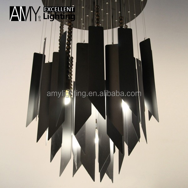 Decor Luxury Metal Strip Wooden ceiling Chandelier Lighting