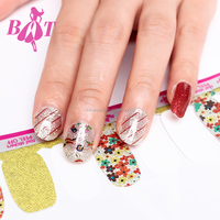 Beitian Pretty Hot Sale Full Cover Purple Feather Pattern 3D Rhinestone Art Nail Stickers
