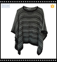 women acrylic knitted poncho wrap cashmere pashmina poncho shawl cape with tassel