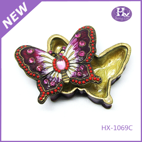 HX-1069 Professional Design Cute Love Butterfly Round Metal Small Locks Jewelry Boxes