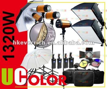 1320W STROBE STUDIO FLASH LIGHTING KIT 330W X 4 LIGHT ( Anit-Preflash )