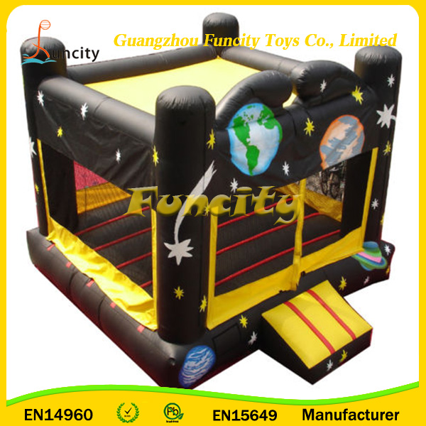 Space Planet Inflatable Castle Bouncy Playing Outdoors In Customizable Logo , Inflatable Jumping Castle For Kids