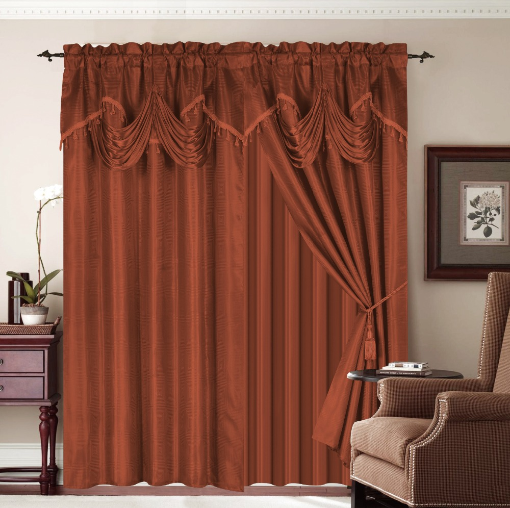 2PCS JACQUARD WINDOW CURTAINS WITH VALANCE AND TAFFETA AND WITH BEAUTIFUL