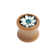 Bamboo tunnels wood ear plug with enamel lotus inside top