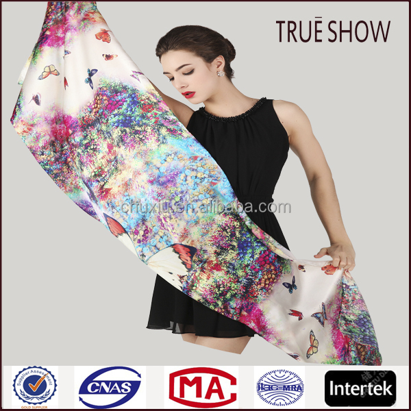 Factory custom fashion winter scarf digital print pure silk scarf