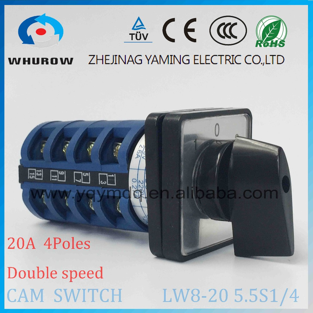Cam switch LW8-20 5.5S1/4 double speed high speed and low speed 20A 4 poles changeover rotary switch sliver point contacts