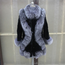 New Style Natural Mink Fur jacket With Silver Fox Fur Collar and Cuff real mink fur coat