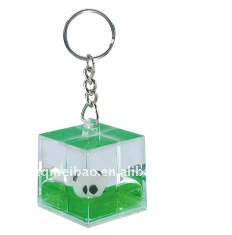 Acrylic cube shape Keyring with attractive floater and liquid inside,floating key chain