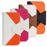 Credit Card Holder Folio Cover Stripe Multi Color Wallet Leather Case for Samsung Galaxy SIII S3 i9300 with Lanyard