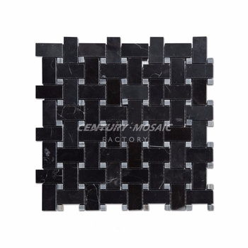 Century Mosaic Polished Tile And Mosaic Nero Marquina Marble For Decoration