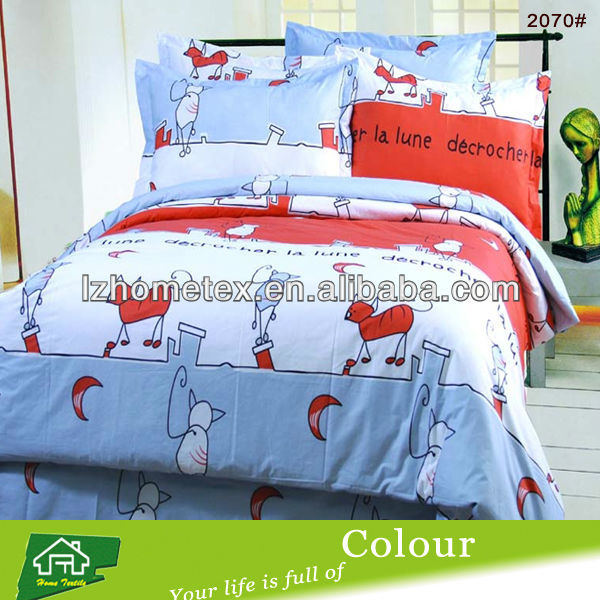 Children cat print bedding set with cotton
