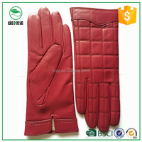 Women's winter genuine gloves basic wool lined thickness red sheepskin leather gloves