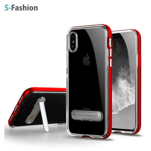 Newest hot selling iStand 2 in 1 design transparent TPU with PC bumper and stand case for iPhoneX,