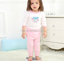 3/4 lovely hot selling 100%cotton baby pajamas with embroidery
