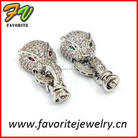 silver cat face green red eye side buckle