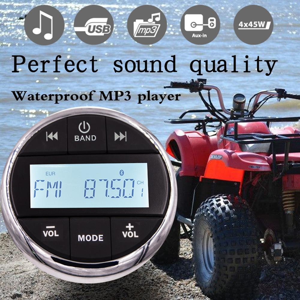 Gauge Waterproof Marine Radio FM AM Stereo Waterproof Boat Stereo Audio MP3