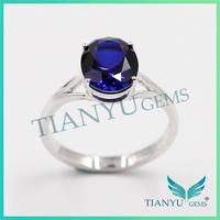 Party Gift 925 Sterling Silver Blue Oval Cut Corundum Ring Wedding Rings