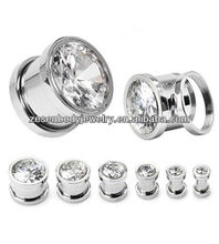 Hot 316L stainless steel screw ear plug expender with CZ body piercing jewelry