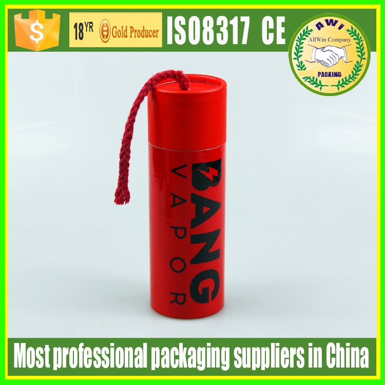 red color rolled edge cardboard packaging paper mailing tube with rope red cardboard paper tube for papers with string on cap