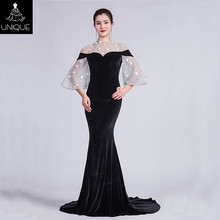 evening dress for fat women O neck fish cut formal dresses wedding party long dress party gowns