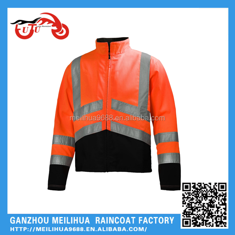 Factory direct Orange Reflective safety bomber jacket for men