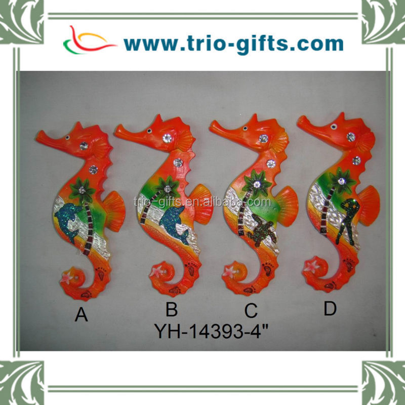 New Product Polyresin Pearlized Seahorse Shape Souvenir Magnet