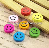 Loose Flat round wood smile beads!! Jewelry 18mm assorted colors loose wood beads for Childrens!! Hottest sales!! !!