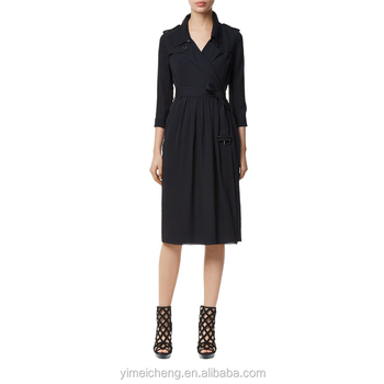 Wholesale black long sleeves knee length autumn woman latest casual dress designs