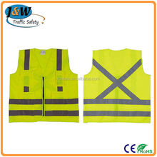 60g / 80g / 100g / 120g Polyester Yellow Cross Back Chile Regulation Reflective Safety Vest