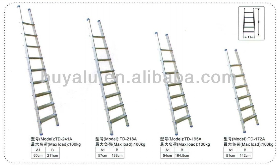 High Quanlity Aluminum Straight Ladder in Silver Anodized