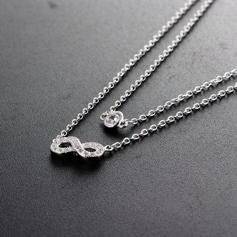 925 Silver Infinity Personalized Cubic Zirconia Womens Necklace