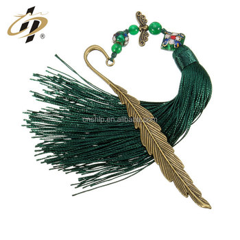 Factory cheap wholesale custom antique metal bookmark with tassels