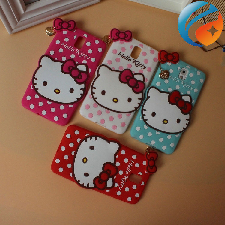 Free shipping Cute Silicone Hello Kitty Case for Samsung Note 3