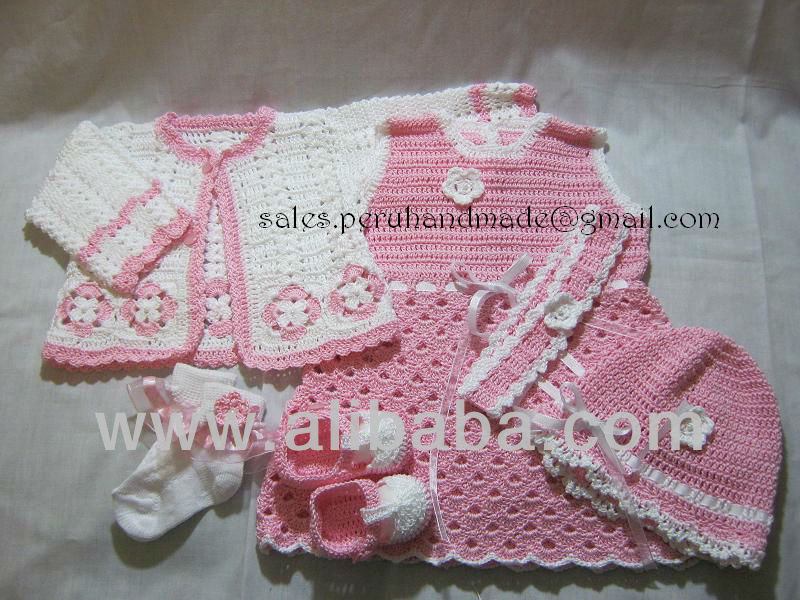 Baby clothes handmade in 100% cotton fibers Peruvian, trousseau, sets, ajuar
