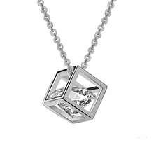 Women Silver White Gold Plated CZ Crystal Pendant Necklace Magic Cube Square Shape Cubic Zirconia Necklace