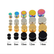 6-14 mm Surgical Steel Fake Cheater Ear Plugs Gauge Earrings 4 Colors Sterilized Body Piercing Jewelry